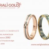 Verighete din aur bicolor, tricolor, sau cu piatră - Cod Produs: 2082