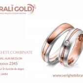 Verighete din aur bicolor, tricolor, sau cu piatră - Cod Produs: 2345