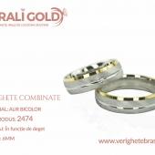 Verighete din aur bicolor, tricolor, sau cu piatră - Cod Produs: 2474
