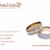 Verighete din aur bicolor, tricolor, sau cu piatră - Cod Produs: 2605