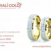 Verighete din aur bicolor, tricolor, sau cu piatră - Cod Produs: 3026