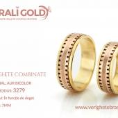 Verighete din aur bicolor, tricolor, sau cu piatră - Cod Produs: 3279