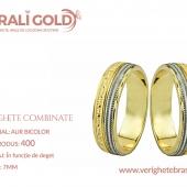 Verighete din aur bicolor, tricolor, sau cu piatră - Cod Produs: 400