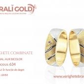 Verighete din aur bicolor, tricolor, sau cu piatră - Cod Produs: 634